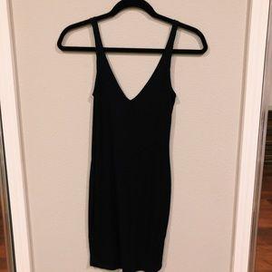 Missguided Black V-Neck Ribbed Bodycon Dress